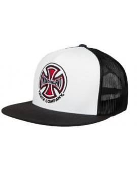 independent cap trucker mesh white black