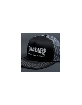 thrasher cap trucker logo black