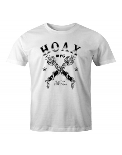 hoax question everything tee white