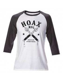 hoax question everything raglan tee white-grey