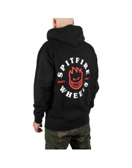 spitfire big head zip hood black red white